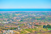 Adriatic seashore with San Marino and Rimini