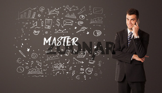 Businessman thinking with educational inscription