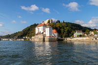 Danube river an entry of river Ilz in Passau, Bavaria, Germany in autumn