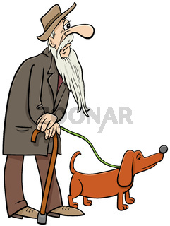 cartoon senior walking with dog comic characters