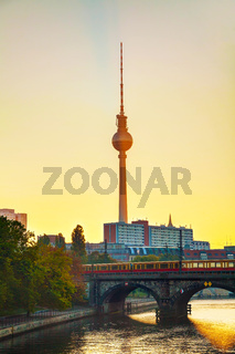 Berlin cityscape early in the morning