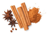 Cinnamon Sticks Cinnamon Powder Pile Anise Stars