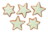 Gingerbread Star Cookies With Green Icing