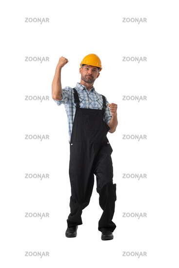 Contractor worker holding fists