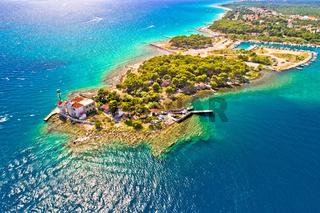Jadrija lighthouse in Sibenik bay entrance aerial view