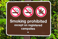 A smoking prohibited except on registered campsite sign