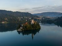 Aerial view of the Bled island at sunrise