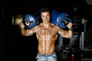 Muscular young man shirtless