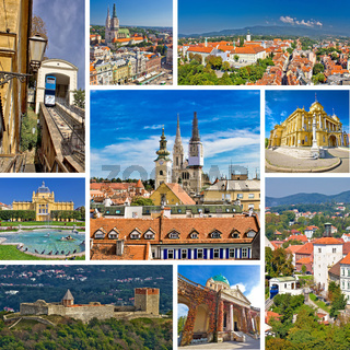 Famous landmarks of Zagreb collage
