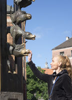 woman touches the nose of a cow for luck at the monument to the Bremen Town Musicians - a fairy tale by the brothers Grimm