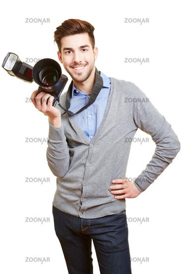 Hochzeitsfotograf mit professioneller Kamera