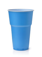 Blue plastic disposable beer cup