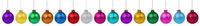 Weihnachten bunte Weihnachtskugeln Kugeln Dekoration Farben in einer Reihe isoliert freigestellt Freisteller