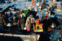 Morocco , Africa, January 16, 2020: Fishing boats in harbour Essaouira north Atlantic Morocco North Africa