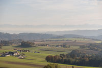 Distant view and farms in the Upper Danube Valley - Austria
