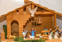 Wooden crib with painted crib figures - Christmas crib