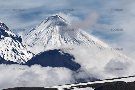Stunning landscape view of eruptions active volcanoes of Kamchatka Peninsula