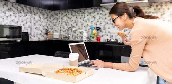Asian woman work from home with take out food panorama.