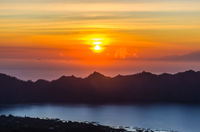 Sunrise panorama view from top of Batur volcano