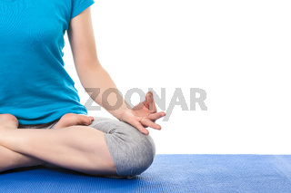 Close up of yoga Padmasana (Lotus pose) with  Chin Mudra - psych