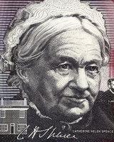 Catherine Helen Spence (1825-1910) on 5 Dollars 2001 banknote from Australia. Scottish born Australian author