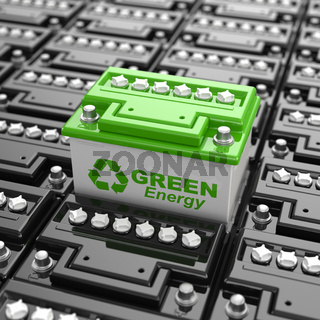 Car battery recycling. Green energy. Background from accumulators.
