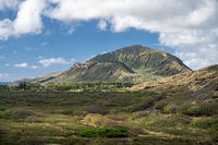 Rear view of the crater on the top of Koko Head on Oahu from the hike to the lighthouse