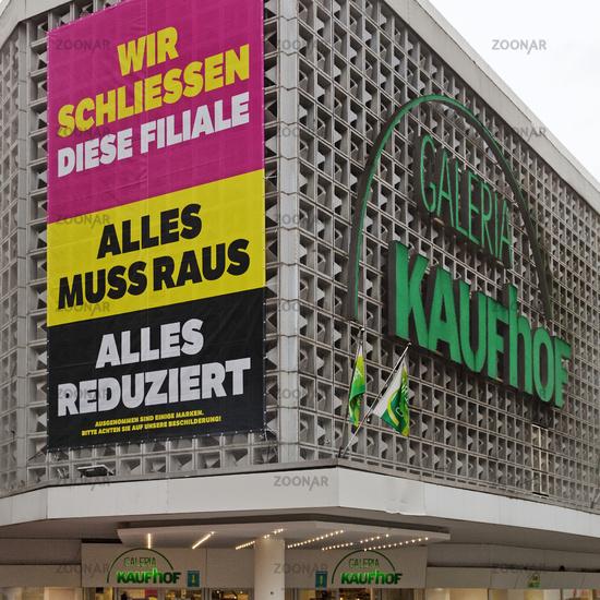 Galeria Karstadt Kaufhof, business closure, Witten, North Rhine-Westphalia, Germany, Europe