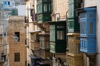 Row of traditional colorful balconies in Malta