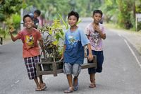 Cheerful local Boys in the Countryside on Bohol Island