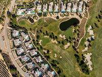 Aerial photo of golf fields. Costa Blanca, Spain