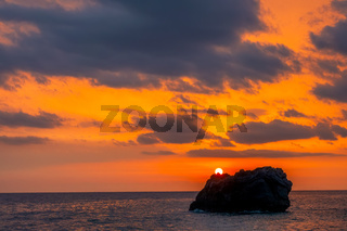 Amazing Colors of Sea Sunset and Lonely Rock