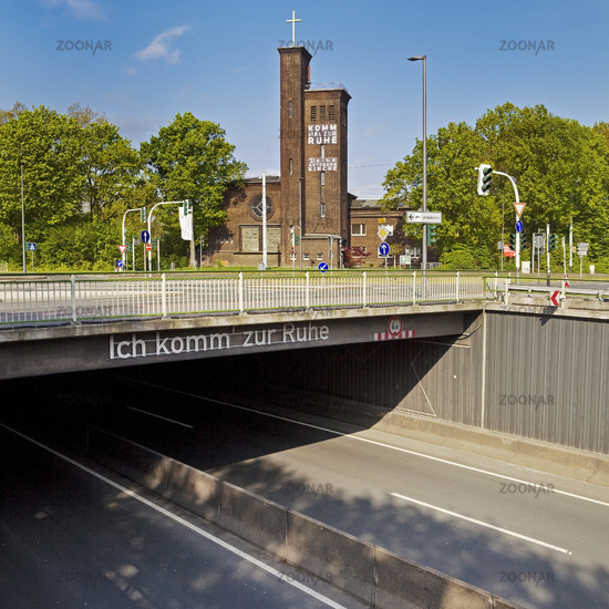 Empty freeway A 40, text brigde I come to rest and freeway church Ruhr, Bochum, Germany, Europe