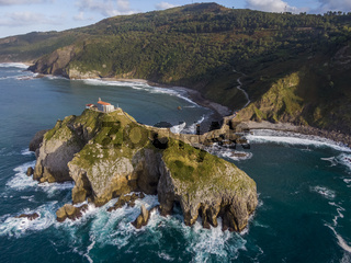 Aerial view of the Gaztelugatxe island in Spain