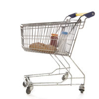 Shopping cart full groceries