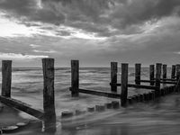 Monochrome image of a groyne in the Baltic Sea near to Zingst, Mecklenburg-Western Pomerania, at twi