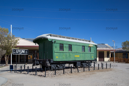 Wagon in front of Uyuni Train Station