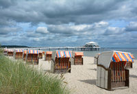 Beach and Pier of Timmendorfer Strand,baltic Sea,Schleswig-Holstein,Germany