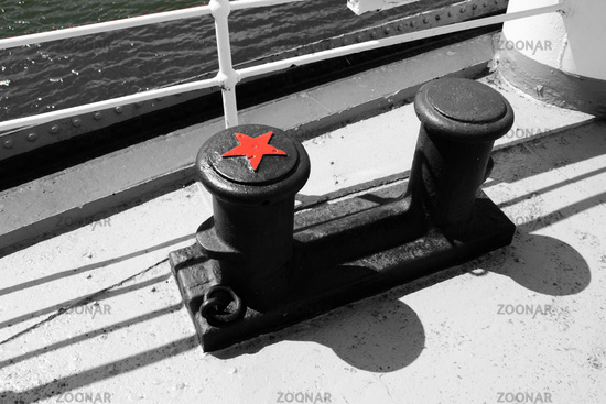 Two bollards on the Gorch Fock one