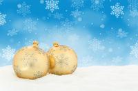 Weihnachten Gold Weihnachtskugeln Weihnachtskarte Karte Textfreiraum Copyspace Dekoration Winter Schneeflocken Schnee