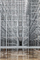 Steel structure of a high rack warehouse