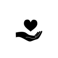 Hand hold a heart, healthcare concept black icon on white