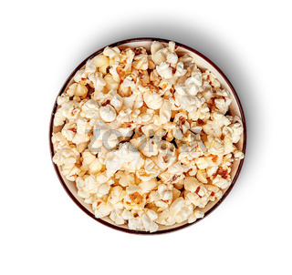 Popcorn in bowl top view