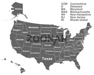 Landkarte der USA mit Namen der Bundesstaaten - Map of the USA with names of the US States