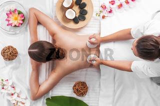 Woman at spa thai massage