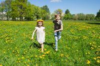 Children running in sunny meadow