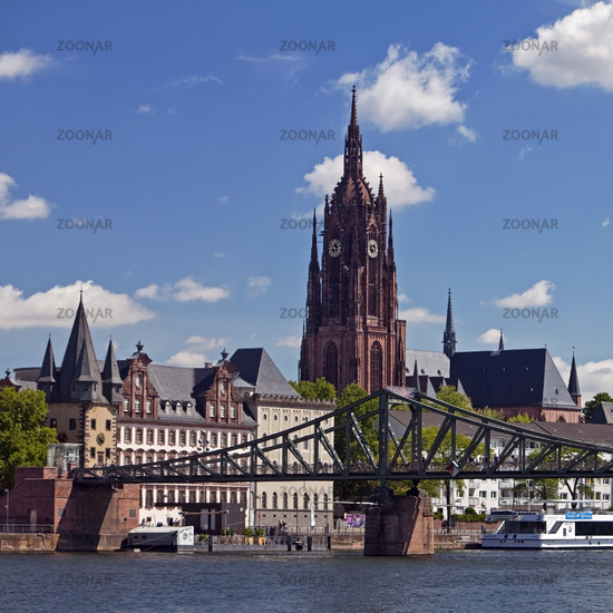 City view with Main and Kaiserdom St. Bartholomaeus, Frankfurt am Main, Hesse, Germany, Europe