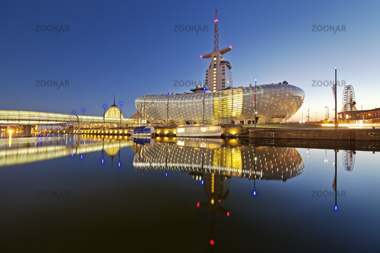Illuminated climate house Bremerhaven in the evening, Havenwelten, Bremerhaven, Germany, Europe