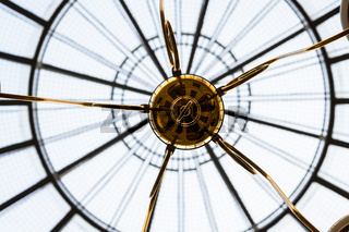 Close-up on a designer ceiling lamp in a gallery