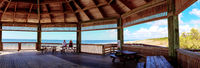 Gazebo overlooking Lovers Key State Park on a sunny day